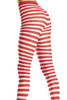 Shop these women's tights with stripes featuring red and white wide striped pantyhose