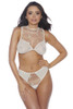 Shop spring lingerie with this white mesh bralette with floral embroidery and matching white mesh panty with floral embroidered pattern