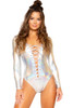 Silver romper, festival bodysuit with silver hologram, new festival wear