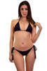 Women's black thong back bikini