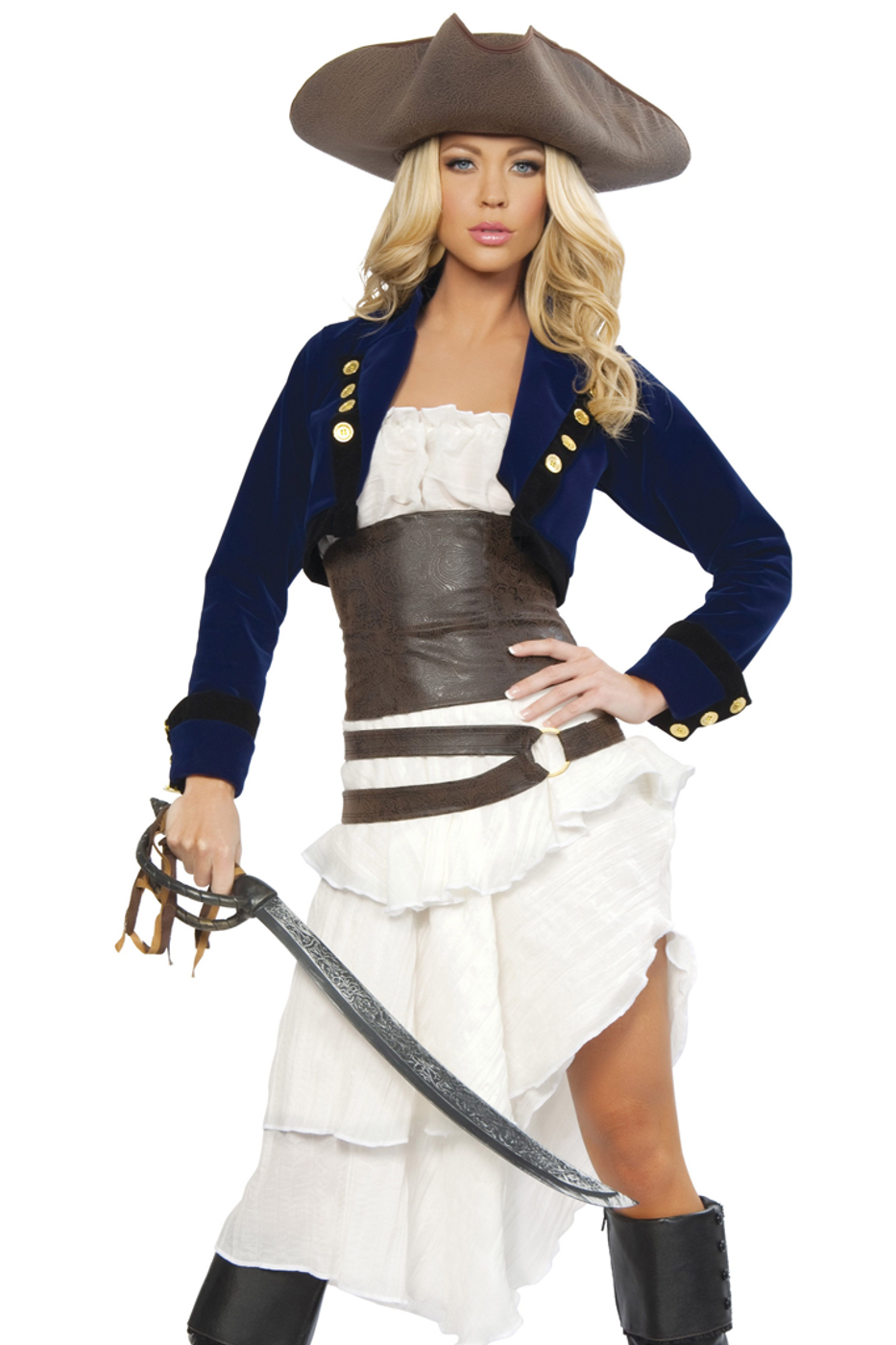 Brown//Black//White Deluxe 4pc Pirate Captain 4242-AS-M
