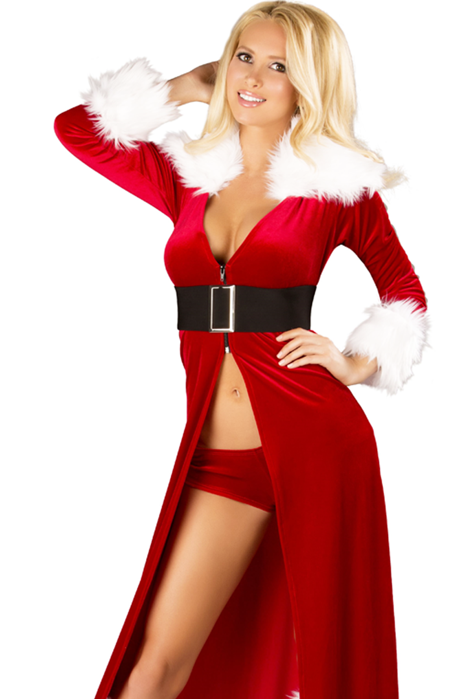 ec1029b53e442 Shop this women s red velvet Mrs. Claus costume with long red velvet robe