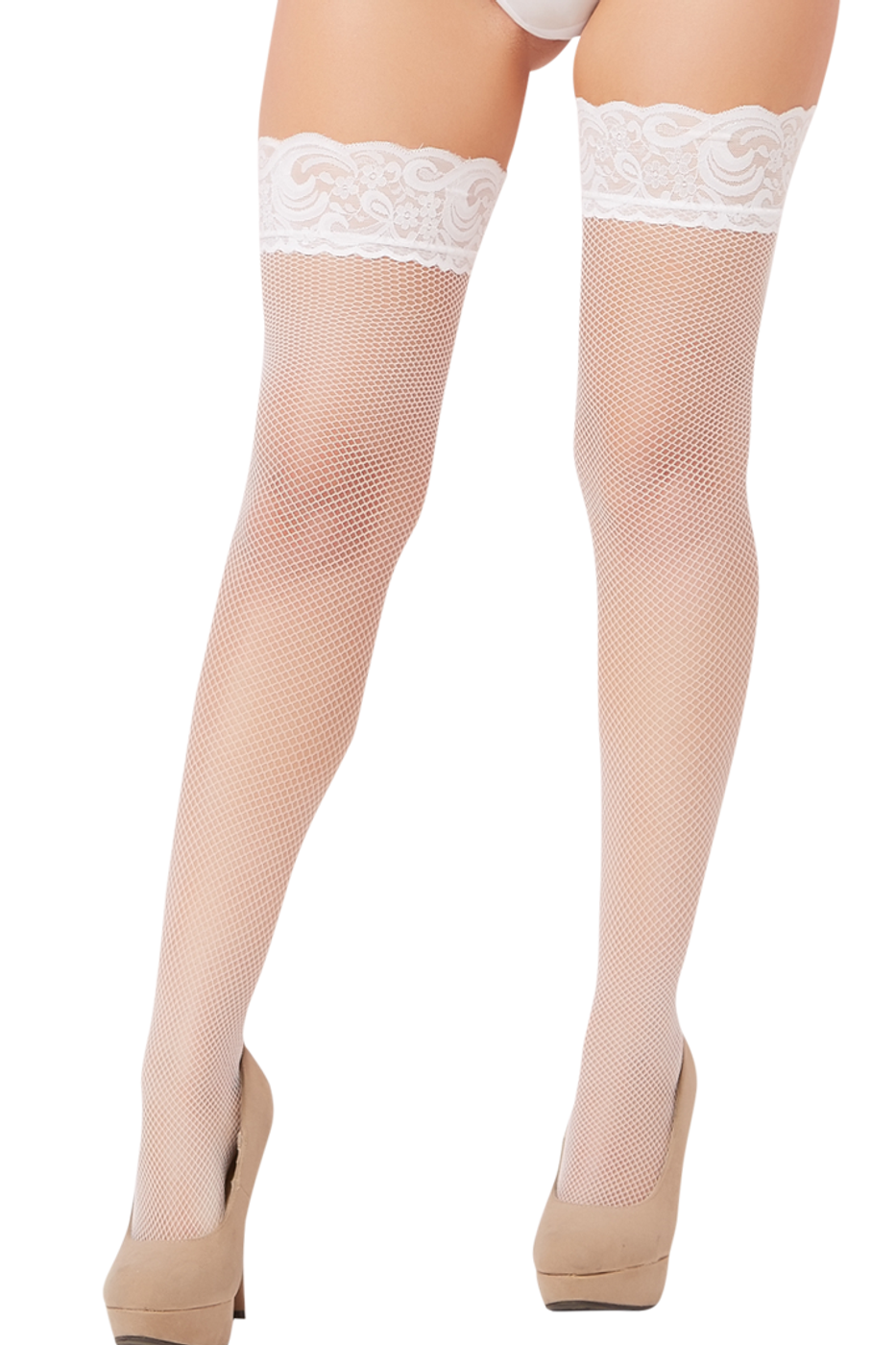 2471042f37155 shop this women's sexy white fishnet nylon stocking pantyhose with lace tops