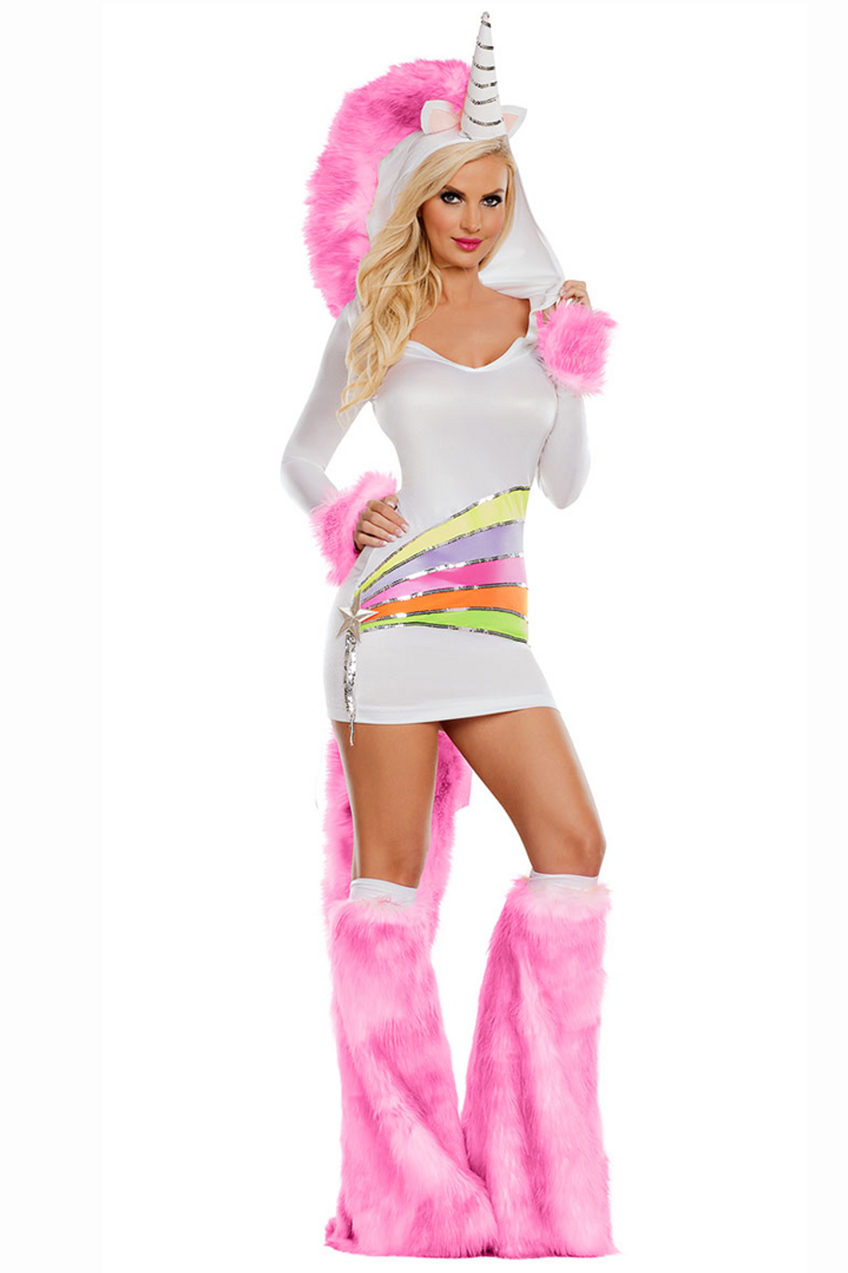 cc9b9fdbdf6 Shop this women s sexy rainbow unicorn costume featuring a white long  sleeve dress with silver sparkles