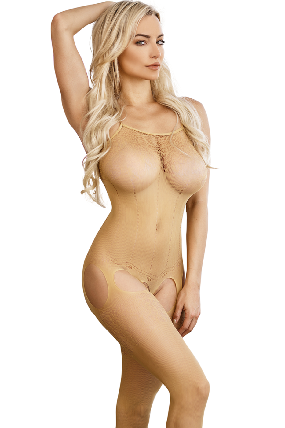 900125a9d92 Shop this women s nude beige body stocking lingerie featuring sheer floral  lace design