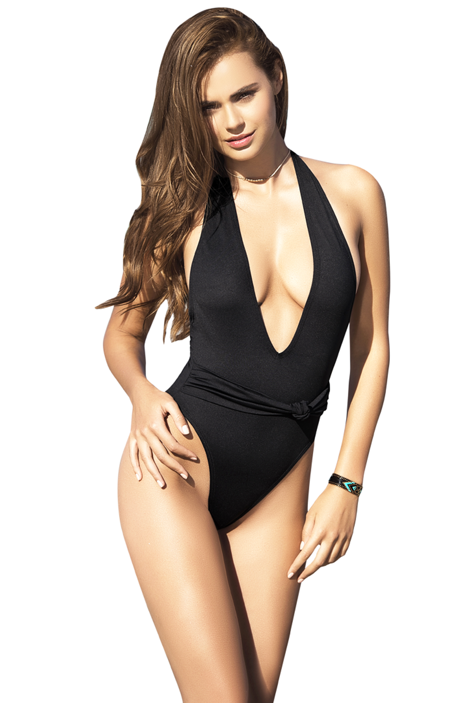 725930b1e0b Shop this women's black monokini with low scoop neckline and high cut  cheeky back