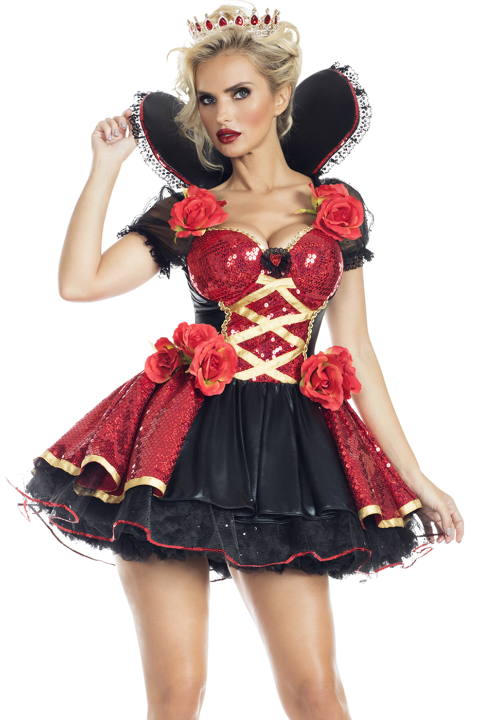 Womens Roma Queen of hearts romper costume