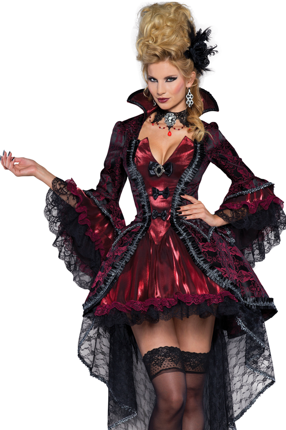 a5a0a82b6ea Shop this women s deluxe sexy vampire costume featuring a theatrical  Victorian vampire costume with floral brocade