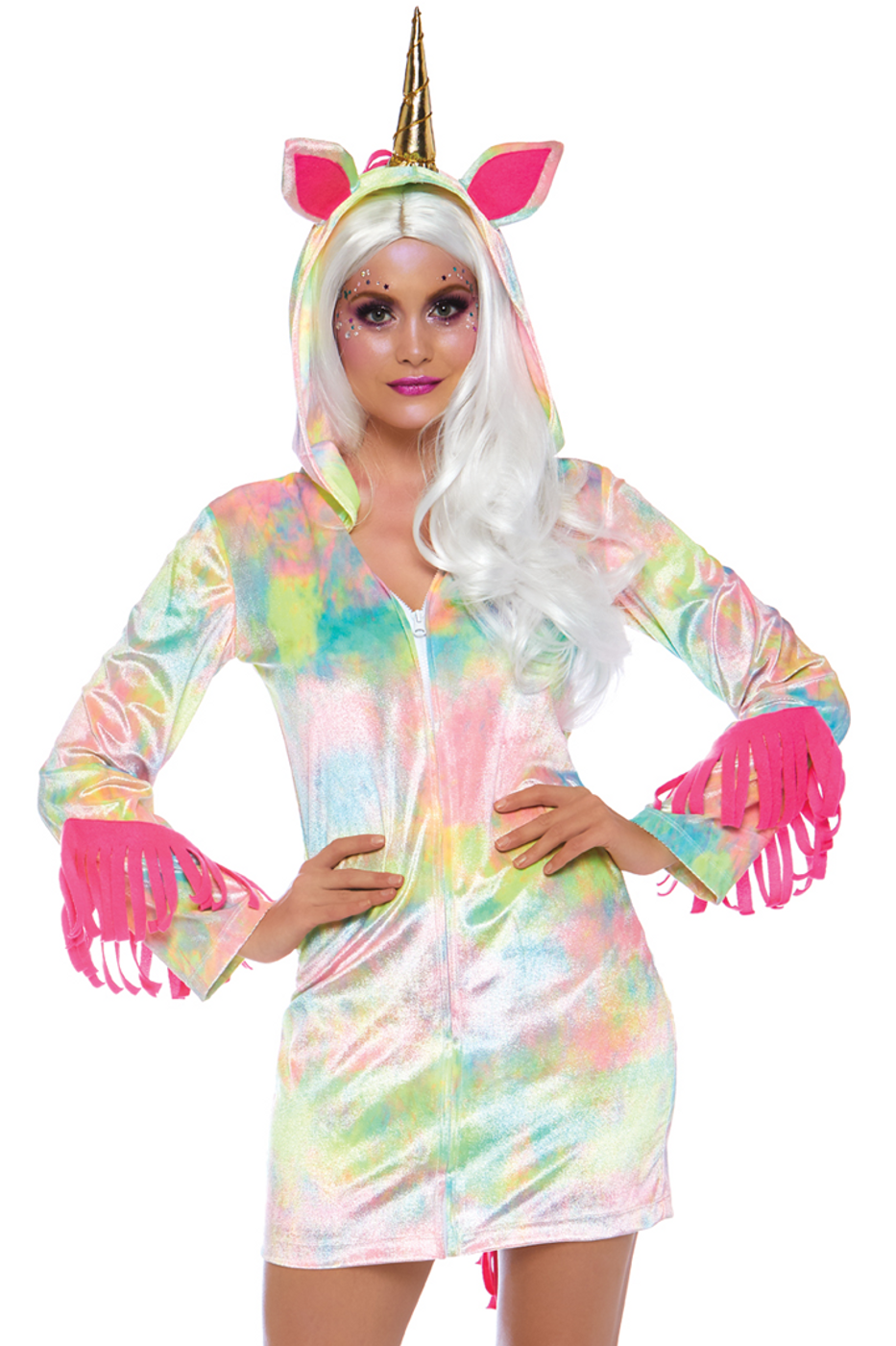 0bd1c9d66734fc Shop this women's flirty sexy unicorn costume with tie dye velvet dress and  attached hood