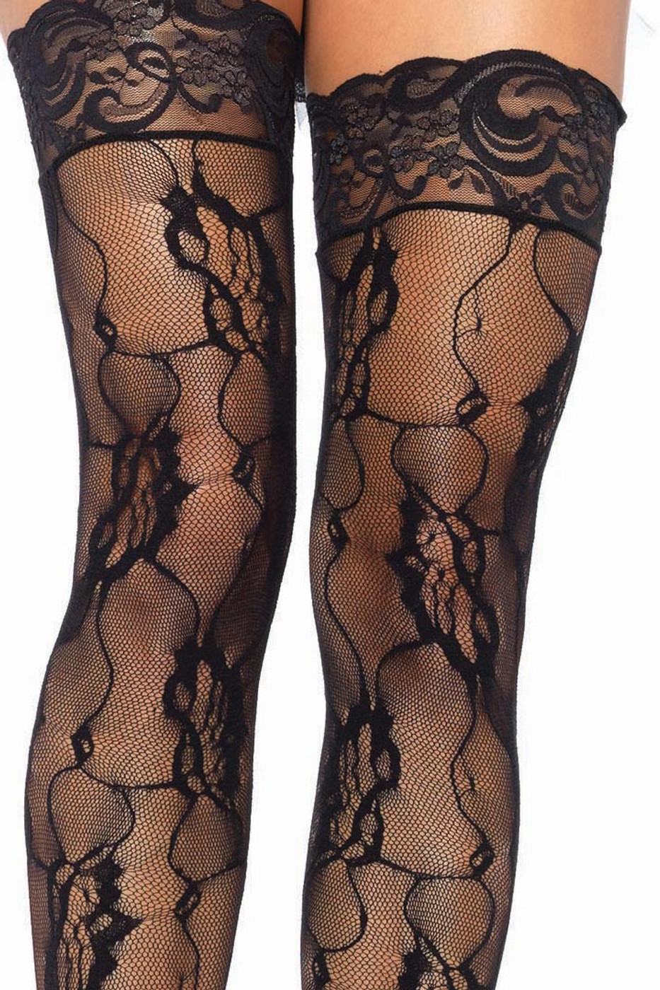 Romantic Rose Lace Thigh Highs with Lace Top White Red Black fnt