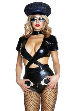 54e4a8ba45c0 Shop women s very sexy Halloween Cop Costume featuring a faux leather cop  costume with high waist