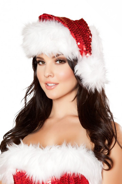 141bddf25b939 Red Sequin Santa Hat with Faux White Fur