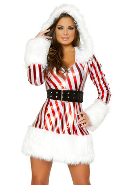 a9ce007905b Shop J Valentine metallic candy Cane Hooded Dress with Long Sleeves and  Black Belt