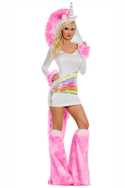 8206837e5afb Shop this women s sexy rainbow unicorn costume featuring a white long  sleeve dress with silver sparkles