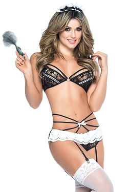 890df672f Shop this women s sexy french maid lingerie featuring a black lace bralette  with lace panty and