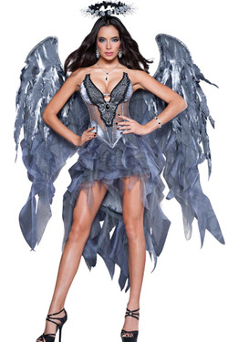 7d22c08a5e9e77 Shop this women s deluxe Dark Angel costume that features a beautiful grey  sheer bodice with chiffon