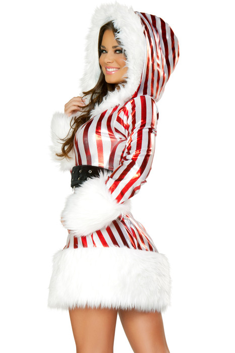 51699509f3 Women s Candy Cane Hooded Christmas Dress - J Valentine