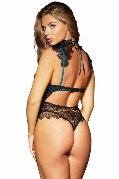 f9228b46a38 ... Shop this women s sexy teal and eyelash black lace teddy lingerie with  neck choker and thong ...