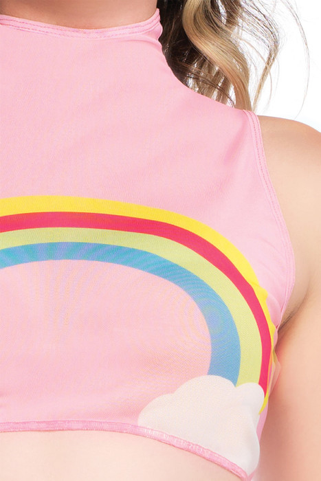 de47815aab8f0c ... Shop this women's pink sheer mesh sleeveless high neck crop top with rainbow  pattern for rave. ‹ ›