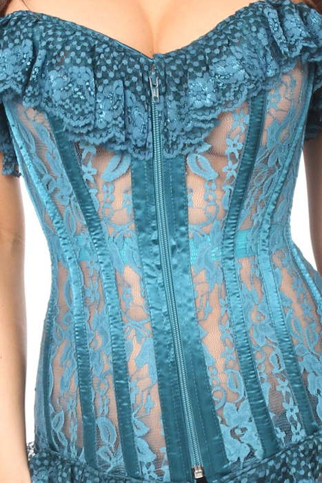 cf9541b4c78 ... Shop this teal mesh corset featuring a sheer lace and ruffle cups with  front zipper ...