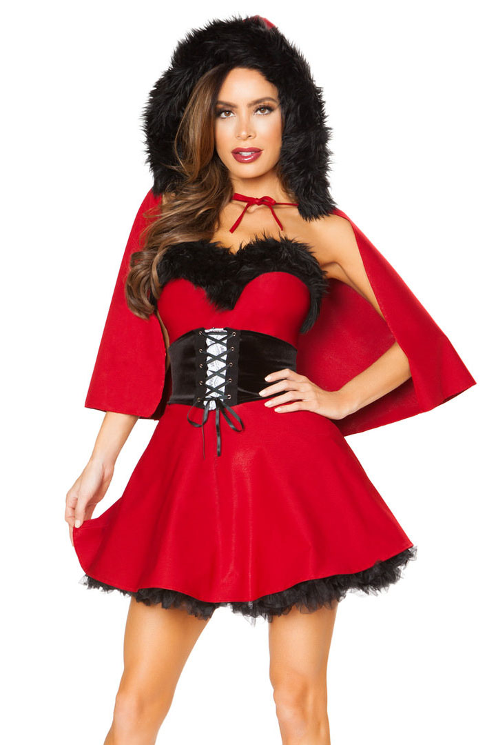 ea40f3c4619 Shop women s sexy Little Red Riding Hood costume with strapless mini dress  and hooded cape with