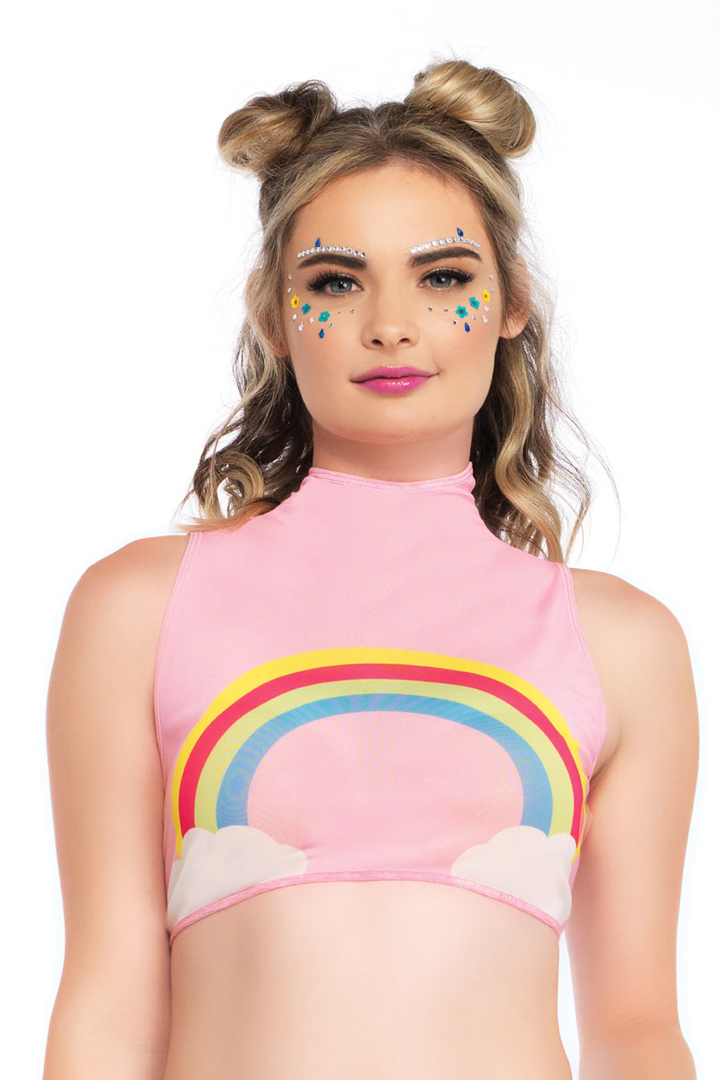 0d5f44d59be Shop this women s pink sheer mesh sleeveless high neck crop top with rainbow  pattern for rave