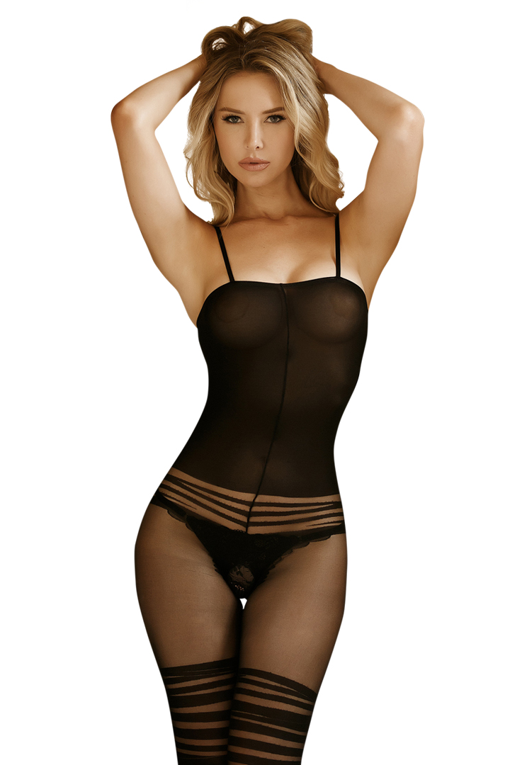9a70843eacb Shop this women s sexy opaque black body stocking with cheeky lace pattern  and open crotch.