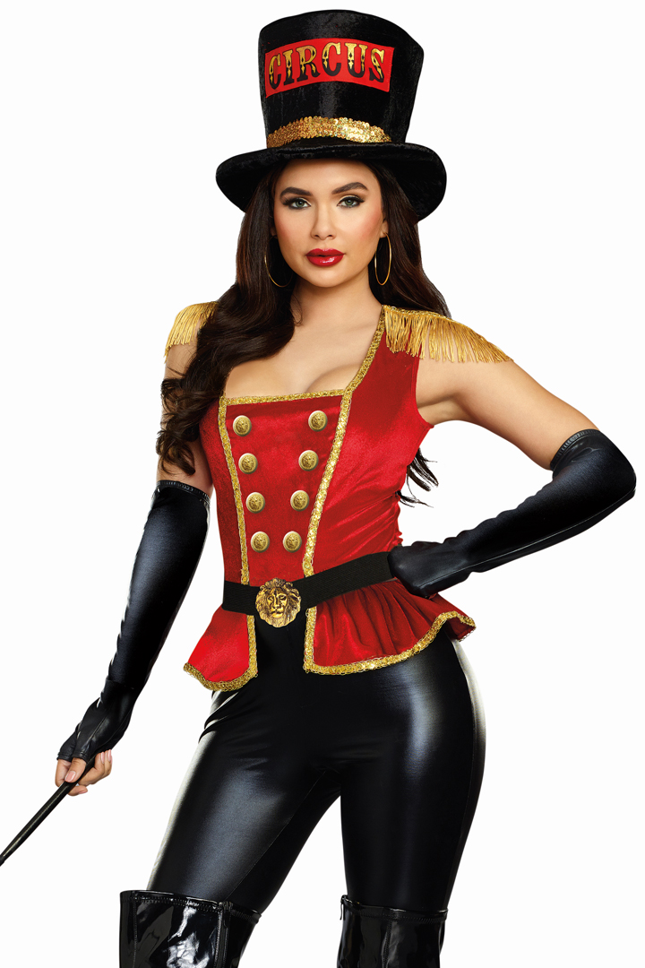 Roma red Circus ringleader jacket top hat costume