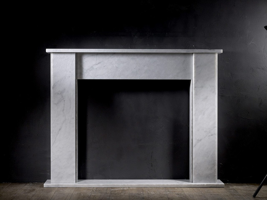 Aquila and Co Model M in Carrara Artisan Fireplace Marble Mantel