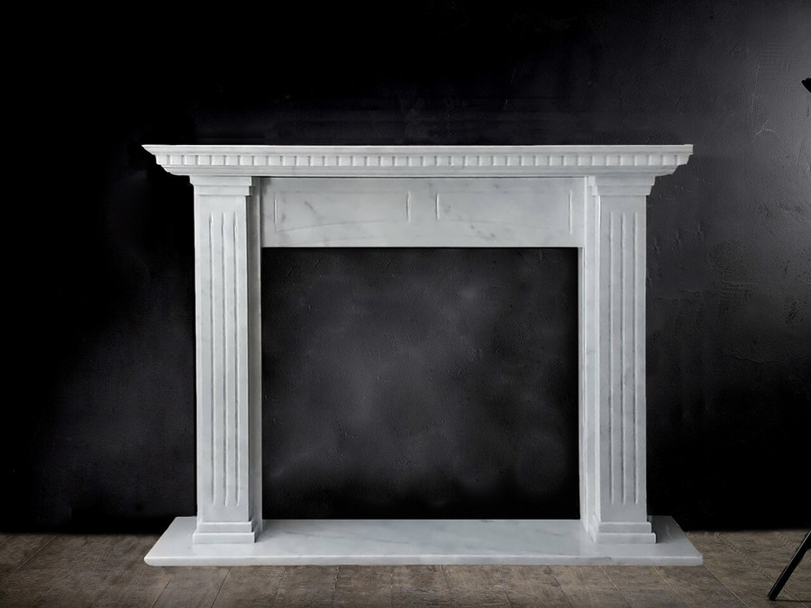 Aquila and Co Model L in Carrara Artisan Fireplace Marble Mantel