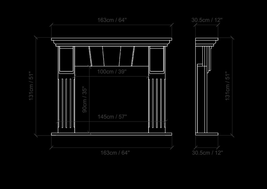 Aquila and Co Model C in Carrara Artisan Fireplace Marble Mantel