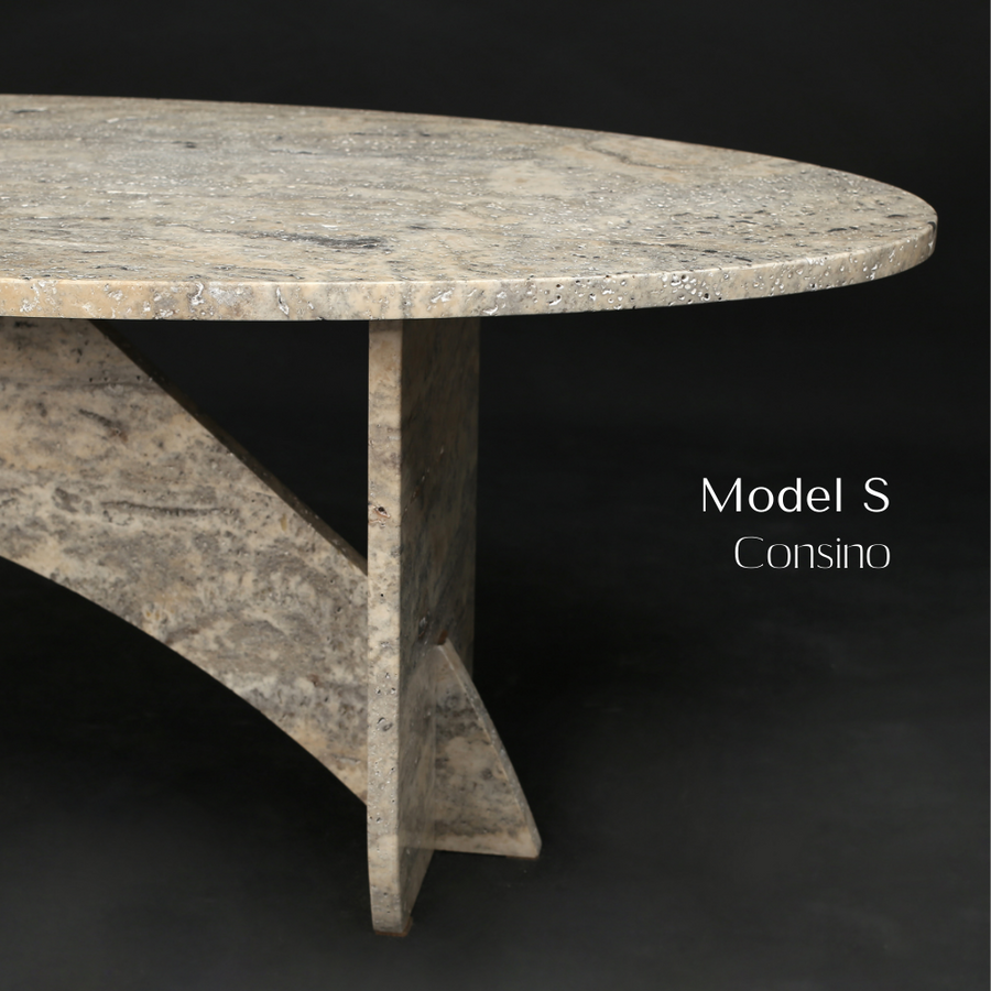 Aquila and Co Model S in Consino Silver Travertine Artisan Coffee Table
