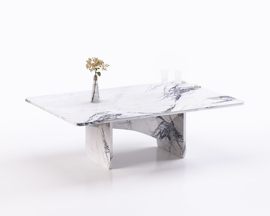Aquila and Co Model QL in Saragosi Artisan Marble Coffee Table Set