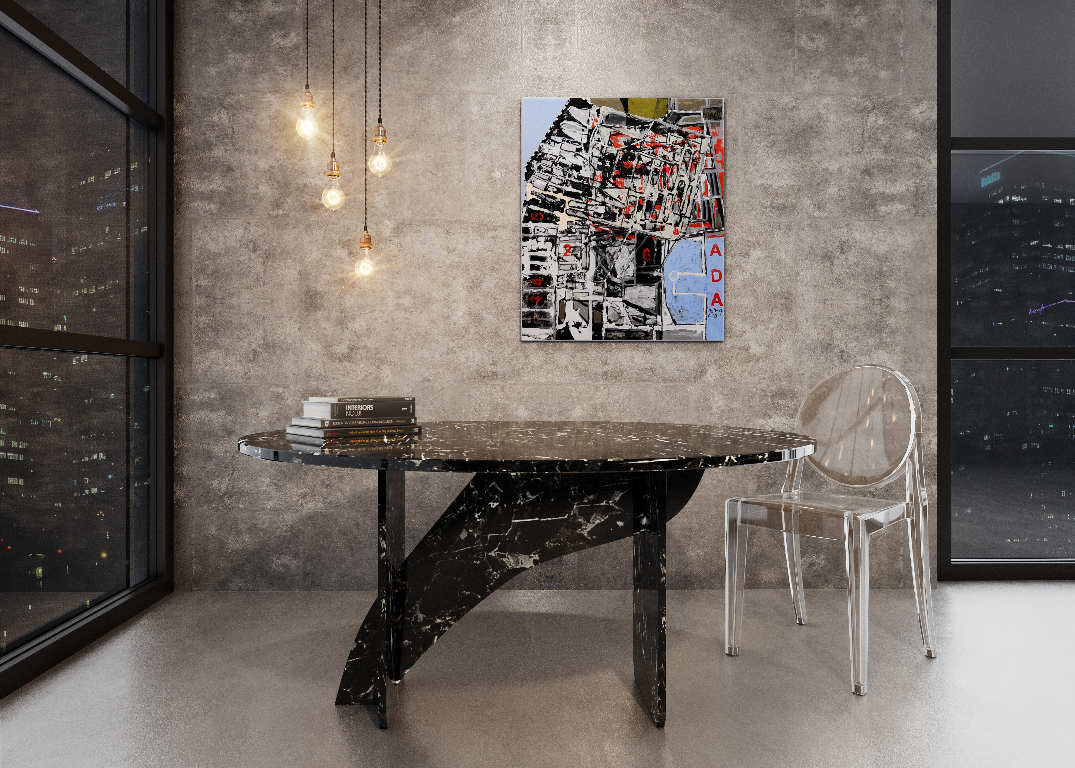 Beautiful marble dining table in a modern and luxury apartment in toronto. Featuring the Model SX 2 to 4 person Aiden Artisan Dining Table with an Original Ayhan Taskiran Art Painting
