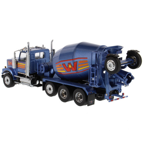 Pre-Order Diecast Masters Western Star 4900 with Lift Axle and McNeilus BridgeMaster Mixer - Metallic Blue 1/50 71075