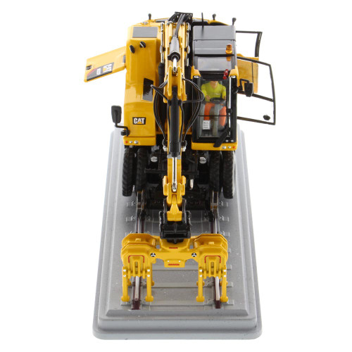 Pre-Order Diecast Masters Caterpillar M323F Railroad Wheeled Excavator Safety Yellow 1/50 Scale 85661