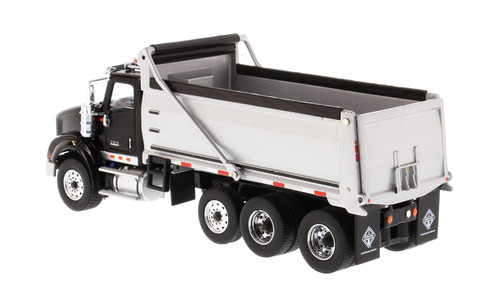 Diecast Masters International HX620 Dump Truck in Black W/ Silver Grey Bed 1/50