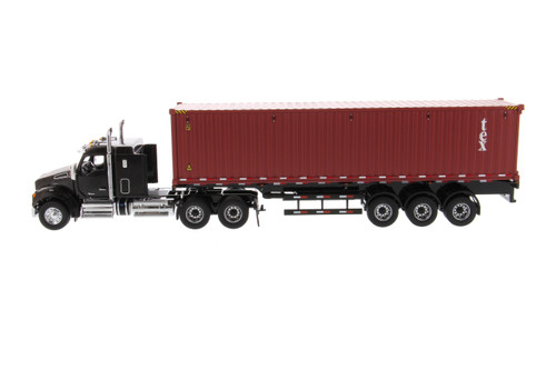 Diecast Masters Kenworth T880 Sleeper Tandem Tractor Black &Sea Container 1/50