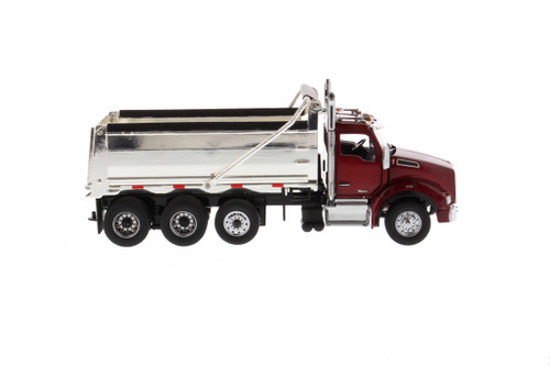 Diecast Masters Kenworth T880 SBFA Dump Truck in Radiant Red with Chrome Plated Dump Bed 1/50