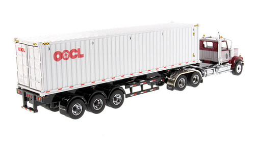 Diecast Masters Western Star 4900 SF Day Cab Tandem Tractor in Maroon and Gray with OOCL 40' Dry Good Sea Container 1/50