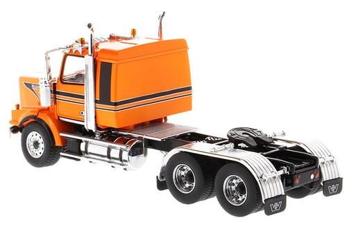Diecast Masters Western Star 4900 SB Sleeper Tandem Tractor- Metallic-orange cab with black stripes 1/50