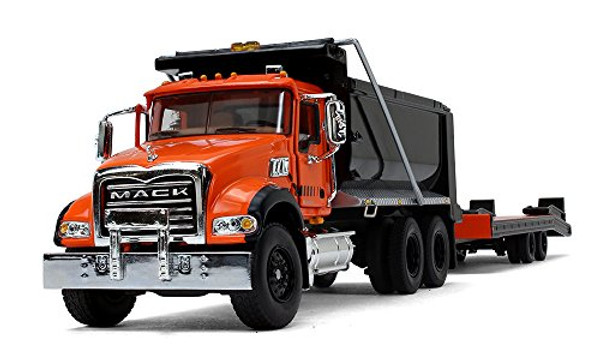 First Gear Mack Granite Dump Truck with Beavertail Trailer Orange/Black 1/50