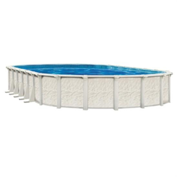 "Wilbar International Barbados 12' x 24' Oval 52"" Steel Pool with 7.5"" Top Seat - PBAR-BL122452SSPSS2C"