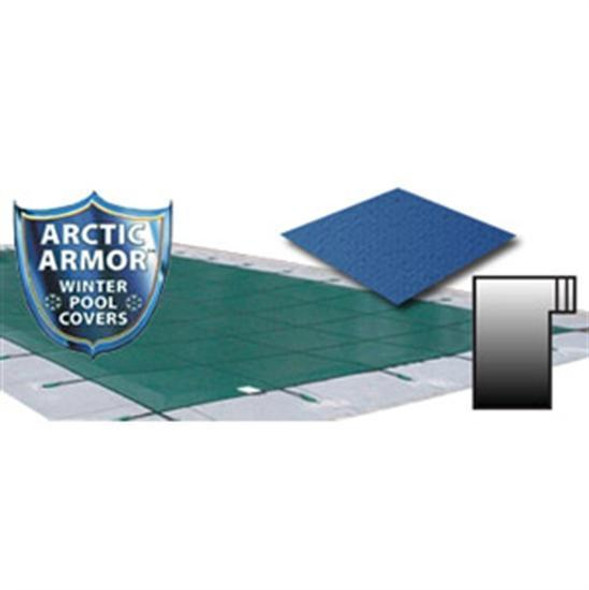 Arctic Armor 25' x 45' Ultra Light Solid Safety Cover with 4' x 8' Right Step Section Blue - WS2231B