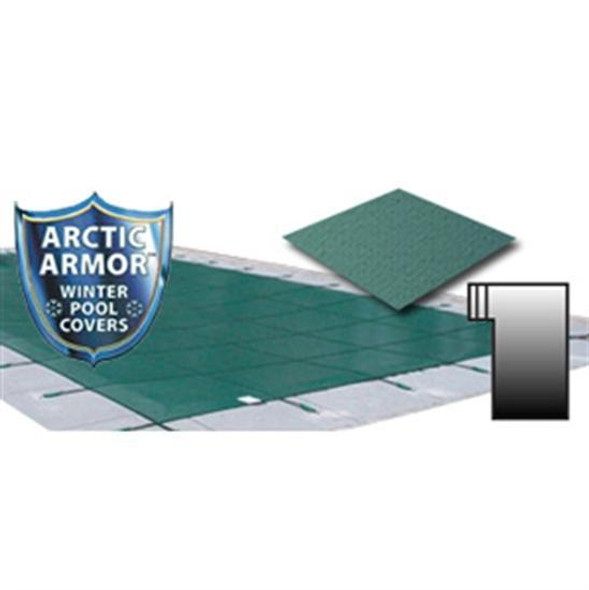 Arctic Armor 25' x 45' Ultra Light Solid Safety Cover with 4' x 8' Right Step Section Green - WS2231G