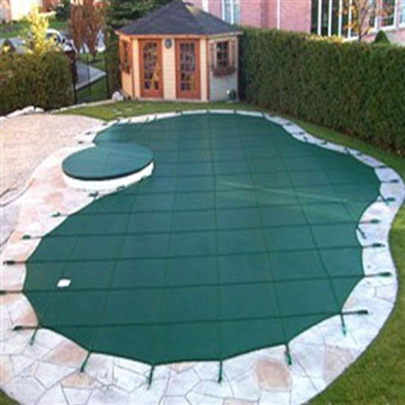 Mesh Safety Pool Cover -Pool Size: 18' x 36' Green Rectangle Arctic Armor Gold 15 Yr Warranty
