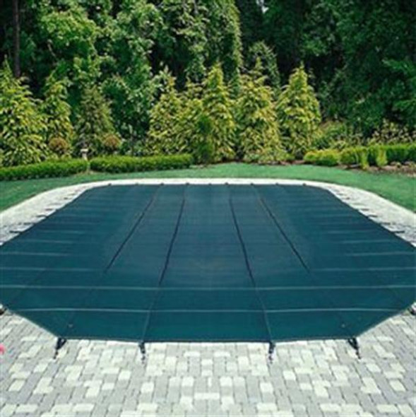 Mesh Safety Pool Cover -Pool Size: 18' x 36' Blue Rectangle Left Step Arctic Armor Silver 12 Yr  Warranty