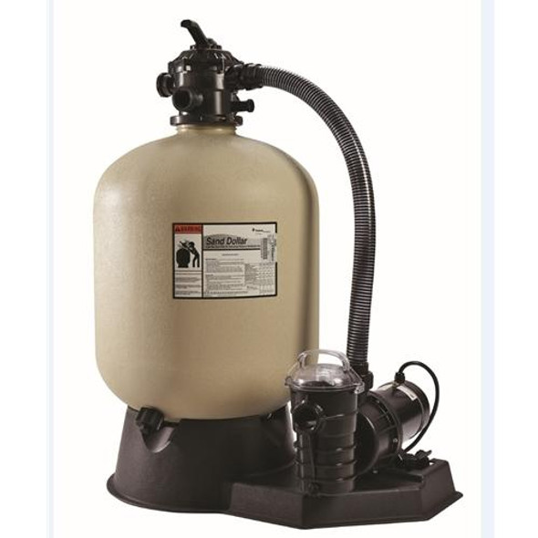"Pentair Sand Dollar Filter System 19"" Sand Filter w- 1 HP Pump and Hose Kit"