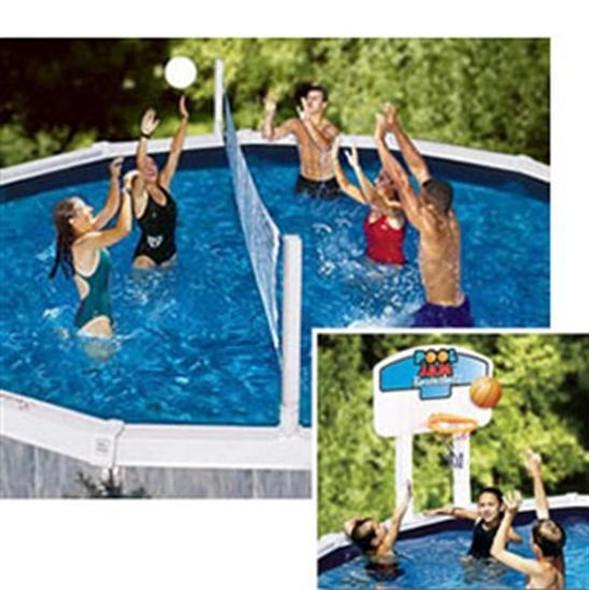 Pool Jam Above-Ground Volleyball - Basketball Combo