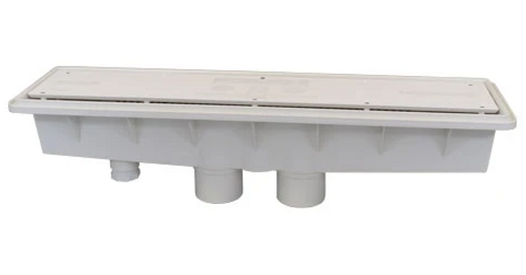 A&A Manufacturing Concrete Dual Suction w/ Hydrostatic Relief AVSC Channel Drain Standard Top White - 571903